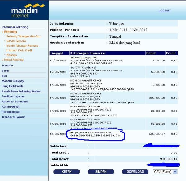 Debit otomatis Bank Mandiri