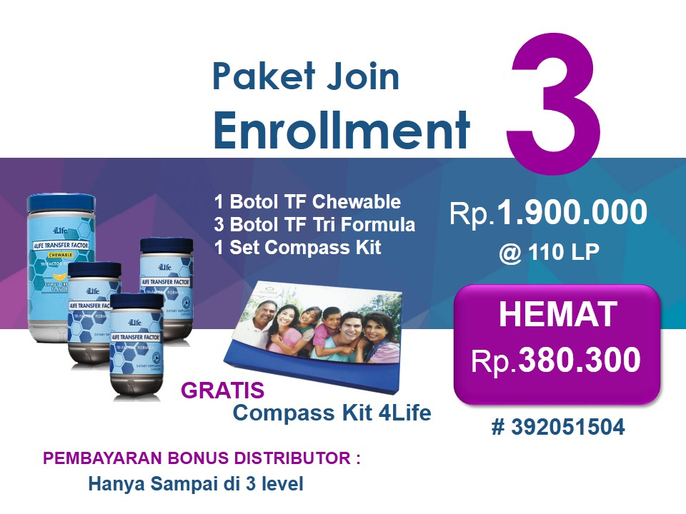 Paket Enrollment 3 4Life Transfer Factor