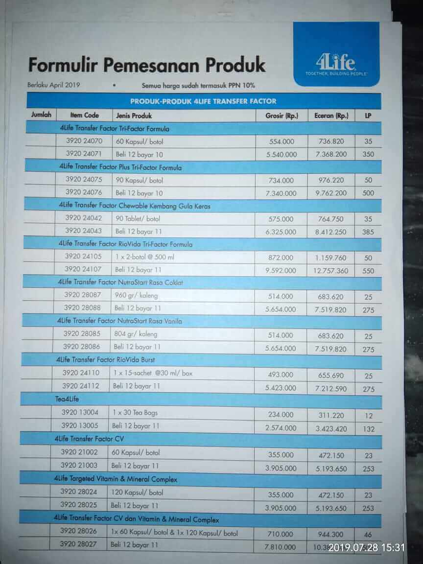 Daftar Harga Produk 4Life terbaru
